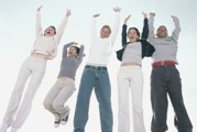 jumping teens hands up smaller Schuylkill Catholic Young Church
